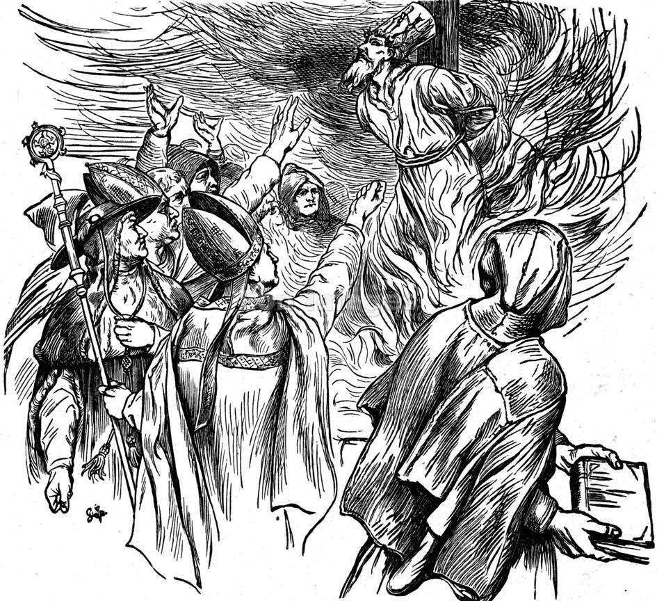 Jan Hus burned at stake